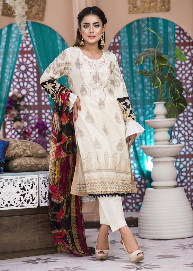 AMT1403 - Readymade - Embroidered Lawn Suit - Pakistani Designer by Memsaab - Memsaab Online