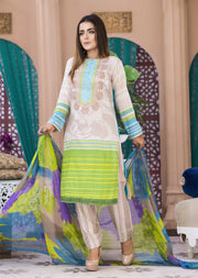 AMT1407 - Green - Readymade - Embroidered Lawn Suit - Pakistani Designer by Memsaab - Memsaab Online