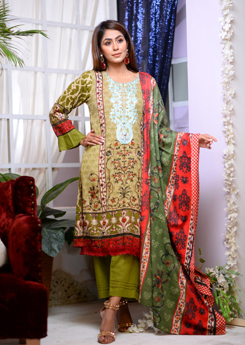 AMT1503 - Green - Readymade Winter Khadder - Pakistani Designer - Memsaab Online