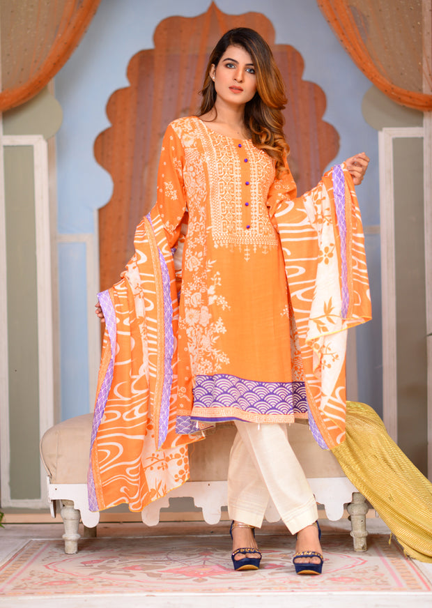Orange - Readymade Winter Khadder - Pakistani Designer - Memsaab Online