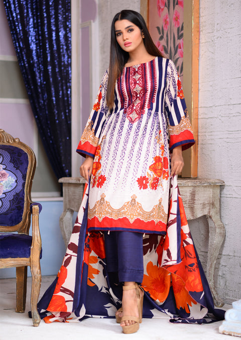 Blue - Readymade Winter Khadder - Pakistani Designer - Memsaab Online