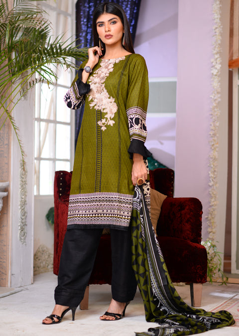 AMT1506 - Green - Readymade Winter Khadder - Pakistani Designer - Memsaab Online
