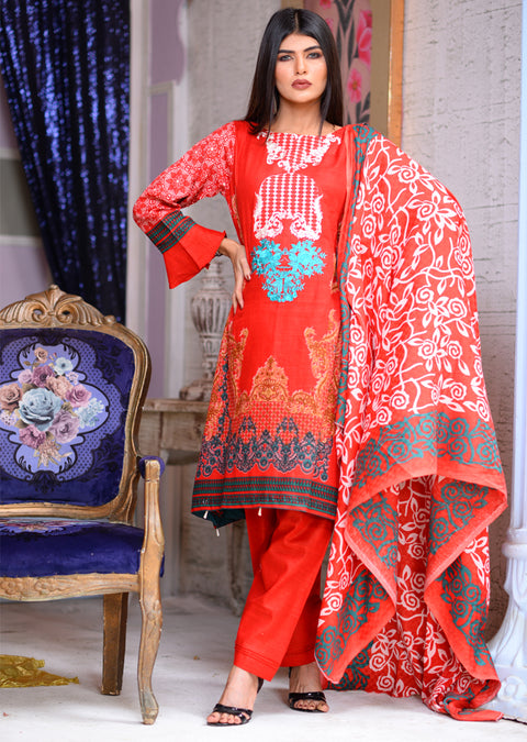 AMT1507 - Red - Readymade Winter Khadder - Pakistani Designer - Memsaab Online