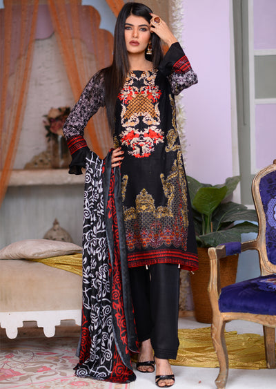 AMT1508 - Black - Readymade Winter Khadder - Pakistani Designer - Memsaab Online