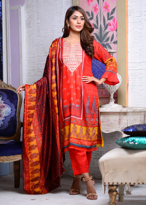 AMT1606 - Readymade - Red - Linen with Woollen Shawl - Memsaab Online
