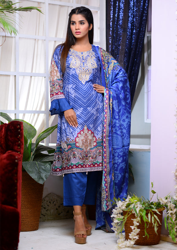 Readymade - Blue - Linen with Woollen Shawl - Memsaab Online