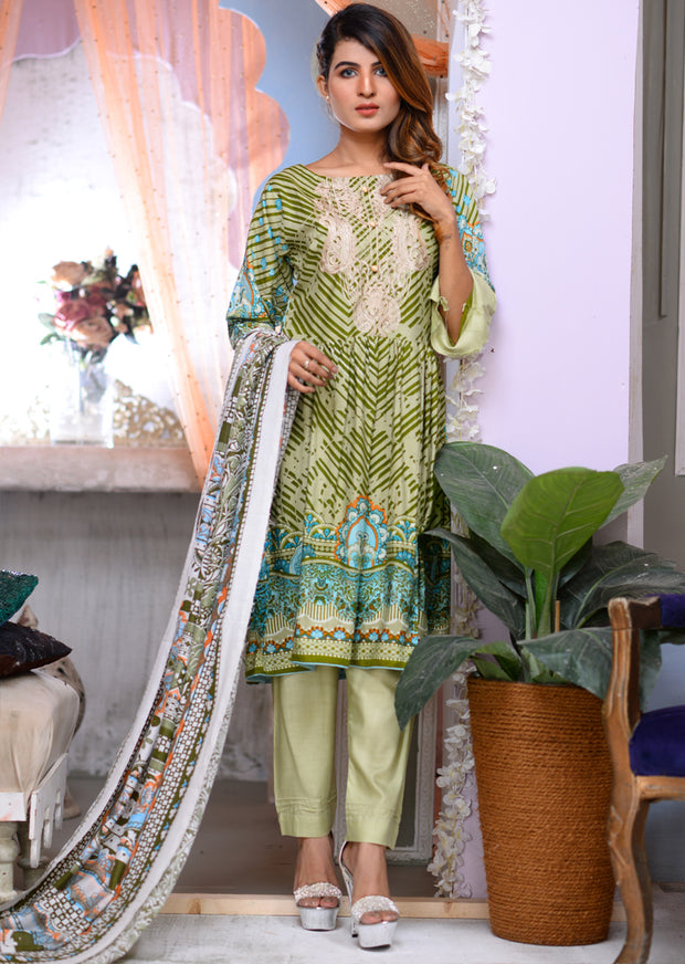 Readymade - Green - Linen with Woollen Shawl - Memsaab Online