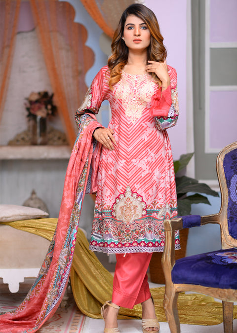Readymade - Pink - Linen with Woollen Shawl - Memsaab Online