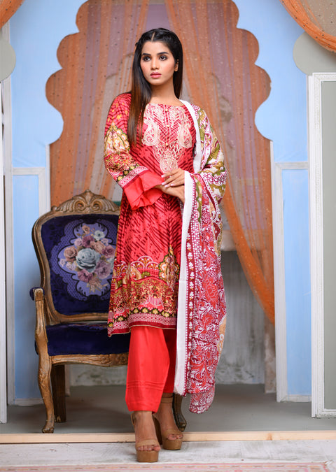 AMT1608 - Readymade - Red - Linen with Woollen Shawl - Memsaab Online