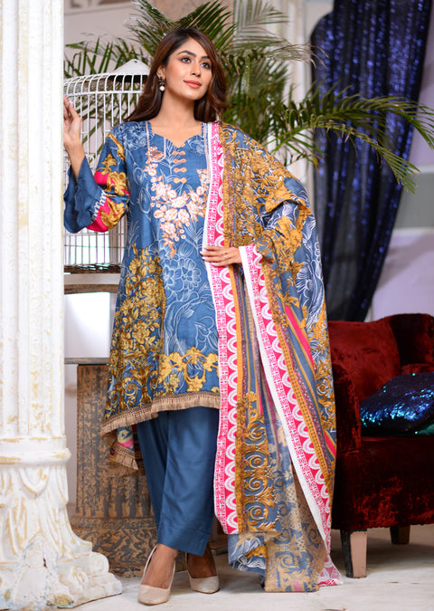 AMT1609 - Readymade - Blue - Linen with Woollen Shawl - Memsaab Online
