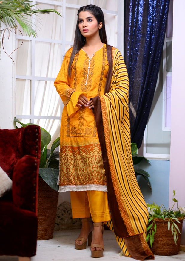 Readymade - Orange - Linen with Woollen Shawl - Memsaab Online