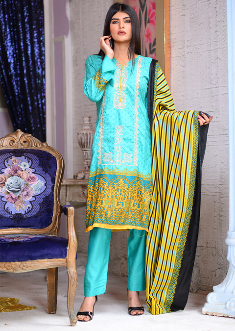AMT1610 - Readymade - Turquoise - Linen with Woollen Shawl - Memsaab Online