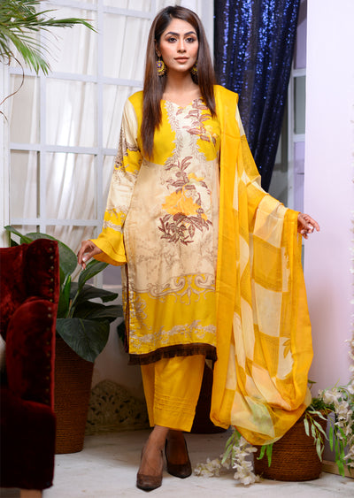 Readymade - Yellow B - Linen with Chiffon Duppatta - Memsaab Online