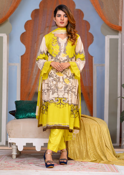 Readymade - Yellow A - Linen with Chiffon Duppatta - Memsaab Online