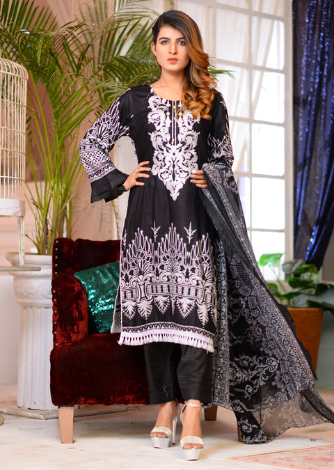 Readymade - Black/white - Linen with Chiffon Duppatta - Memsaab Online