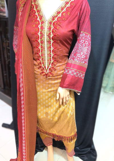 AMT1901 Maroon Readymade Embroidered Lawn Suit - Memsaab Online