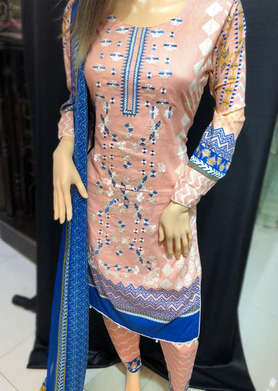 AMT1903 Pink w White Readymade Embroidered Lawn Suit - Memsaab Online