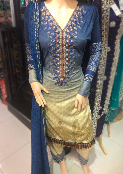 AMT1916 Blue Readymade Embroidered Lawn Suit - Memsaab Online