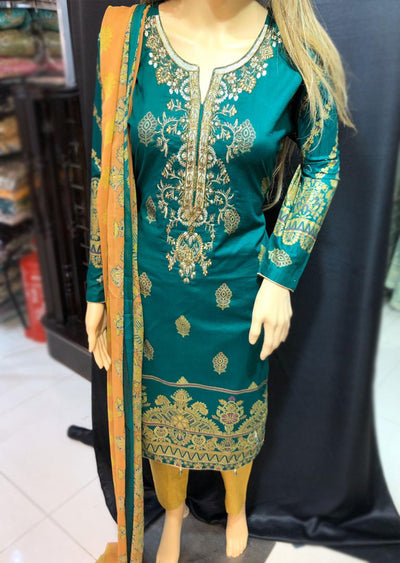 AMT1909 Green Readymade Embroidered Lawn Suit - Memsaab Online