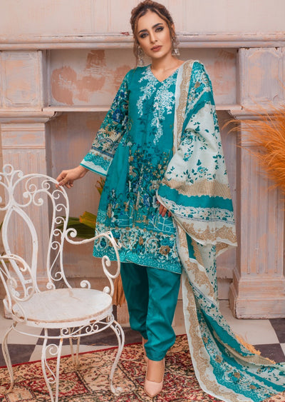 AMT20038 - Readymade Blue Embroidered Lawn Suit - Memsaab Online