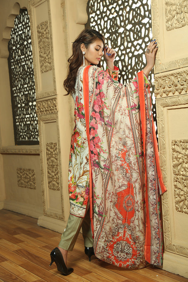 41d651d260 AMT714 - Graceful Rosette - Readymade Pakistani Lawn Suit - Cream/Orange - Lawn  2019