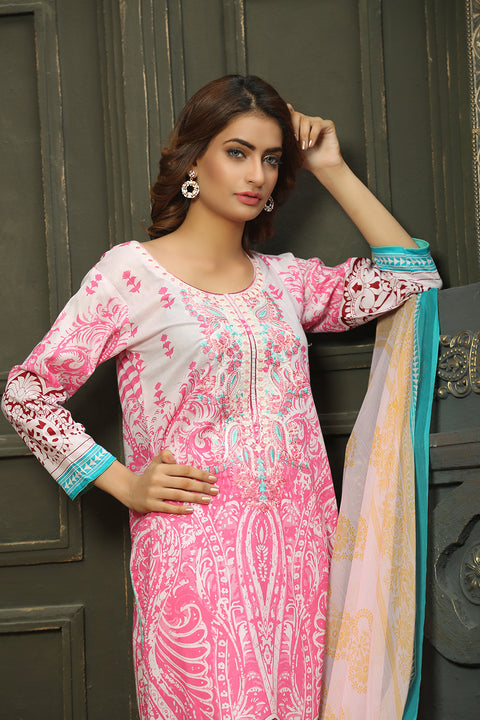 AMT718 - Summer Vibrance - Readymade Pakistani Lawn Suit - White - Lawn 2019 Vol 1 - Memsaab Online