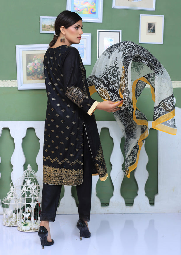 AMT802 - Black - Readymade Pakistani Memsaab Designer Embroidered Lawn Suit - 2019 Vol 2 - Memsaab Online