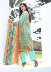 AMT805 - Green - Readymade Pakistani Memsaab Designer Embroidered Lawn Suit - 2019 Vol 2 - Memsaab Online