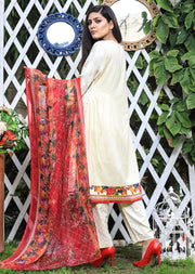 AMT905 - Cream - Readymade Pakistani Memsaab Designer Embroidered Linen Suit - 2019 Vol 2 - Memsaab Online