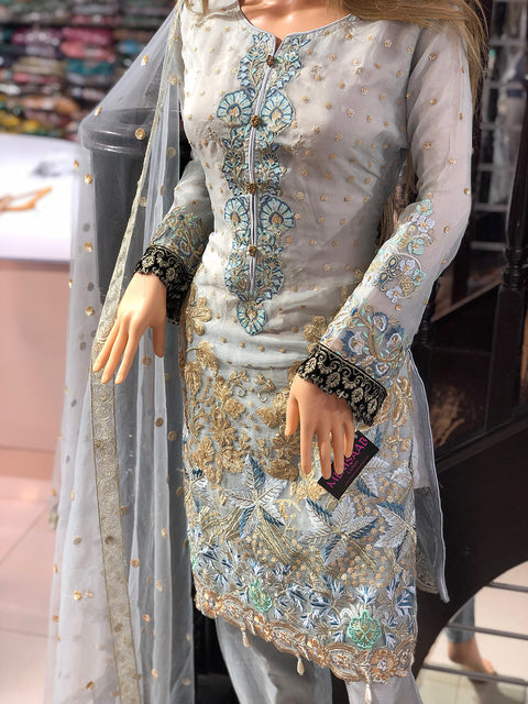 Nilofer - Anaya Inspired Readymade Suit - Pakistani Designer Fancy Organza Readymade Embroidered Suit - Memsaab Online
