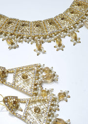 Mahrukh -Antique- Aari Gold Plated Necklace Set with Fresh Water Pearls - Memsaab Online