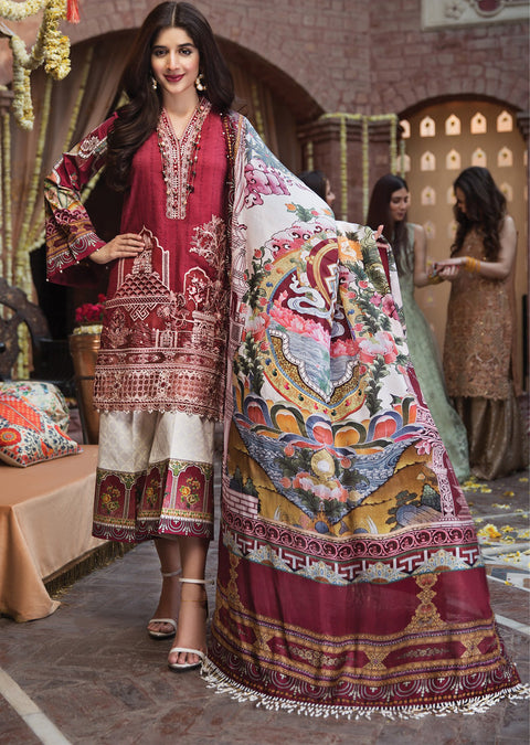 Anya - Anaya by Kiran Chaudhry - Festive Collection 2019 - Unstitched Pakistan Designer Embroidered Lawn Original Suit - Memsaab Online