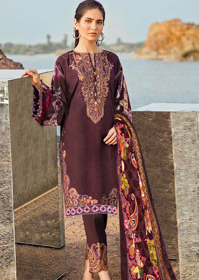 Autumn Zeal - Unstitched - Plum - fuchsia by baroque inspired pakistani shawl suit - Memsaab Online