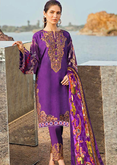 Autumn Zeal - Unstitched - Purple - fuchsia by baroque inspired pakistani shawl suit - Memsaab Online