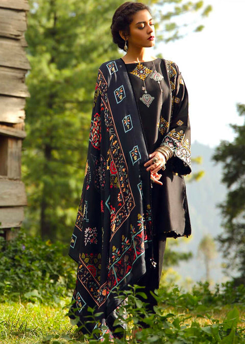 Baran - Unstitched - Zara Shahjahan Inspired Pakistani Winter Shawl Collection salwar kameez - Memsaab Online