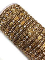 Artificial Antique Gold Diamante Metal Bangle Set - Memsaab Online