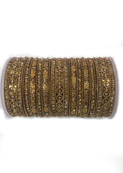 Artificial Antique Gold , Golden Diamante Metal Bangle Set - Memsaab Online