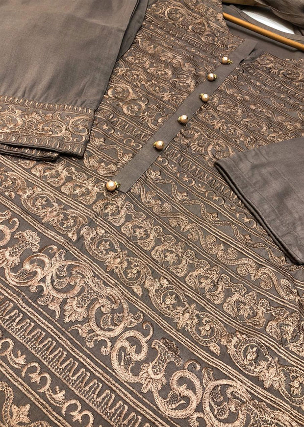 HK28 Readymade Beige Embroidered Linen Suit