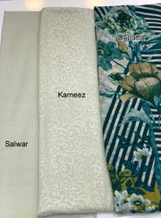 Sheesha - Beige - Winter Plain suit with printed shawl - Unstitched - Memsaab Online
