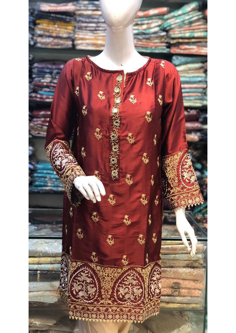 MR904 Red Embroidered Silk Kurti - Readymade - Pakistani Designerwear - Memsaab Online