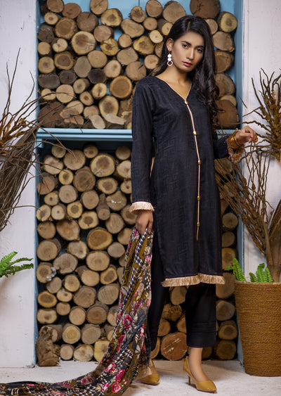Black Readymade Marina Winter Shawl Suit - Pakistani Designer - Memsaab Online