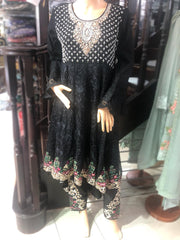 9423 - Zoon - Readymade - Black - Chiffon Tail Dress - Pakistani Designer Branded - Memsaab Online