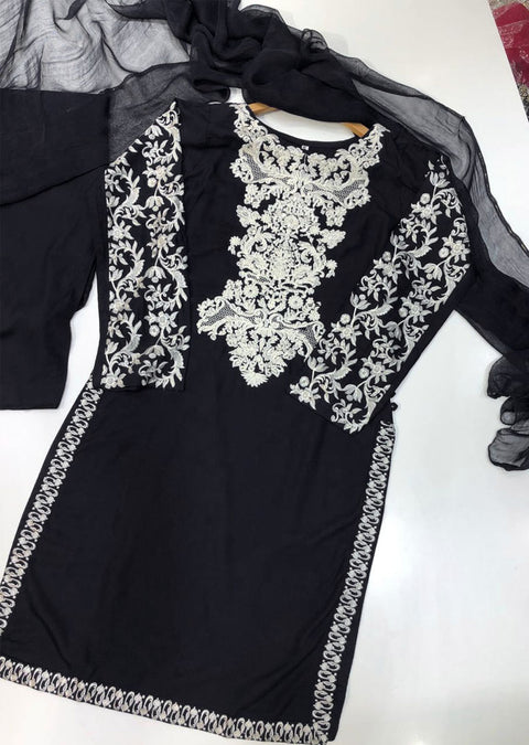 HK29 Readymade Black Embroidered Linen Suit - Memsaab Online