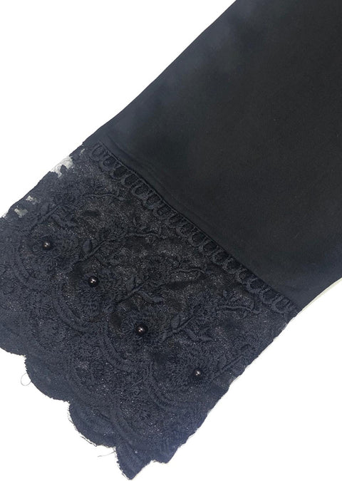 ZAT106 Black Embroidered Linen Trouser - Memsaab Online