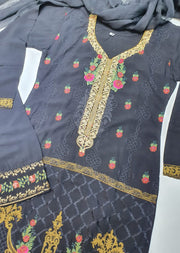 D4 Readymade Black Linen Embroidered Suit - Memsaab Online
