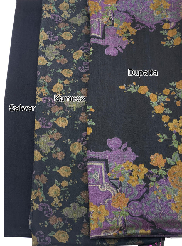 Aaina - Black - Winter Printed suits Suit with printed shawl - Unstitched - Memsaab Online