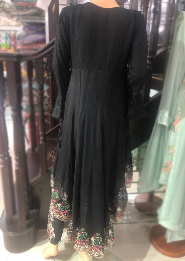 Zoon - Readymade - Black - Chiffon Tail Dress - Pakistani Designer Branded - Memsaab Online