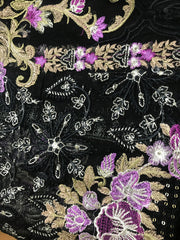 05 Venus - Black - Unstitched - Chantelle Embroidered Chiffon by Baroque - Memsaab Online