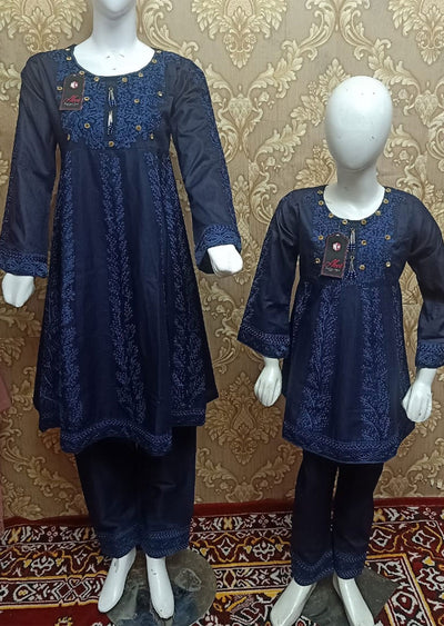 BLG5102 Blue Readymade Mother & Daughter Lawn Suit - Memsaab Online