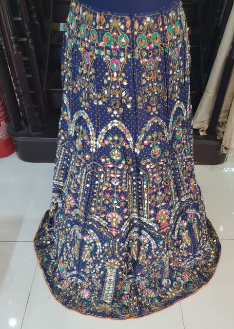 DX9450 Blue Heavy Silk Mirror Skirt - Memsaab Online